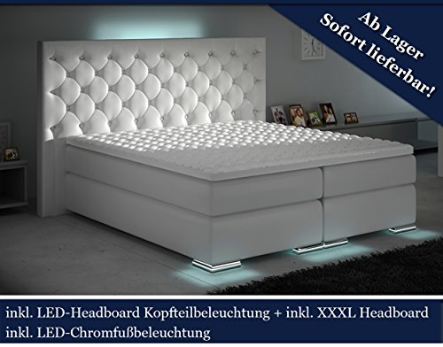HG Royal XXXL Boxspringbett Designer Boxspring Bett LED Chesterfield (Weiß, 180x200)