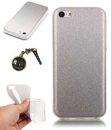 TPU Coque iPhone 5C, Bling Bling Gliter Sparkle Coque Paillette [ Ultra Mince ] Housse Etui Premium Coque pour Apple iPhone 5C +Bouchons de poussière (14RR) 14