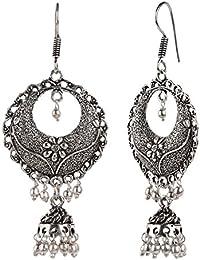 Efulgenz Oxidised Silver Boho Vintage Antique Fashion Stylish Tibetan Dangle Drop Jhumki Earrings for Women Girls