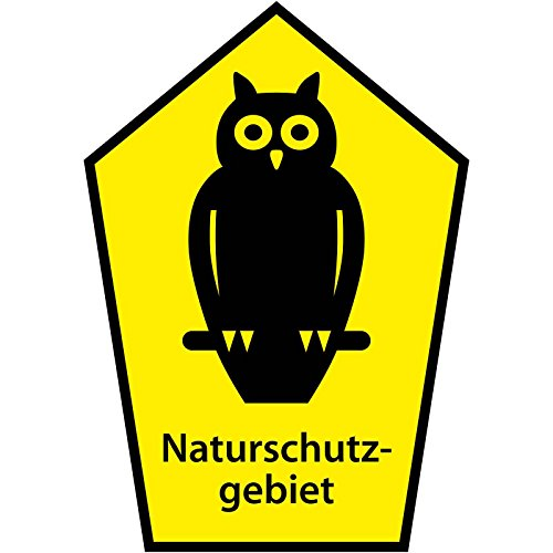 "Schild ""Naturschutzgebiet / Eule im Fünfeck"" aus Aluminium-Verbundmaterial 3mm stark 21 x 30 cm"