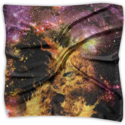 Xukmefat Quadratisches Satin-Halstuch Galaxy Cat seidenähnliches leichtes Haar, quadratisch, groß (Beanie Mit Pom Galaxy)