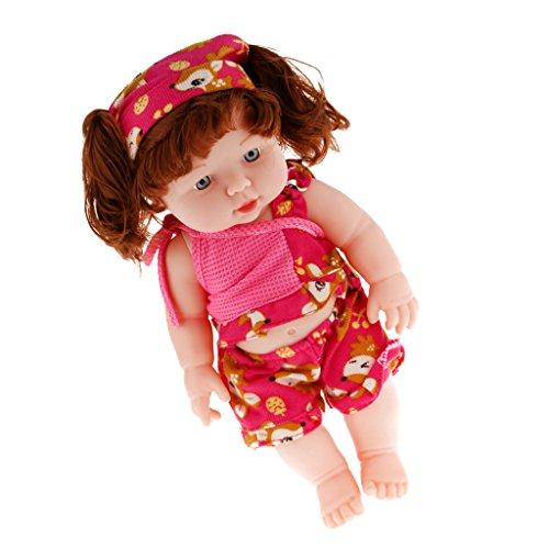 Realistische Silikon Babypuppe Vinyl Wirklichen Leben Lebensechte Baby In Fuchsia - rot (21-puppe Muster Kleidung)