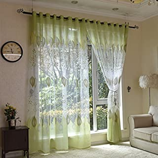 AUSWIND Green Leaf Grommet Top Sheer Curtain Fabric Blinds Drapes one Panel for Rest Room (100 '' W 84 '' H)