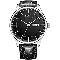 Burei BM-13001-P01EY-1 Day & Date Calendar with Analog Mens Wrist Watch - Black