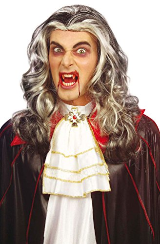 ampir-Perücke Vampir Dracula Herren Lang grau Halloween Karneval (Vampir Perücke Kind)