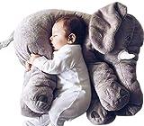 Baby Plüschtier Elefant,Baby Kinderkopfkissen Kleinkind Schlaf pillow Stuffed Plüschtiere,Zwei Größe,5 Farben (L, Grau)