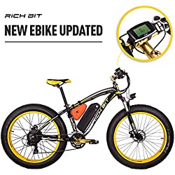 RICH BIT Rt-022 E-Bike bicicleta de eléctrico ciclismo 26 pulgadas 4.0 Fat tire de montaña bicicleta eléctrica bicicleta ebike Motor de alta potencia de 1000 W 48 V * 17 Ah recargable de litio de alta