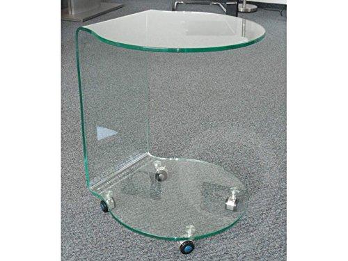 Concept Glas (86) Glastisch Rollentisch Beistelltisch mit 2 Ablageflächen halbrund auf Rollen Sale -