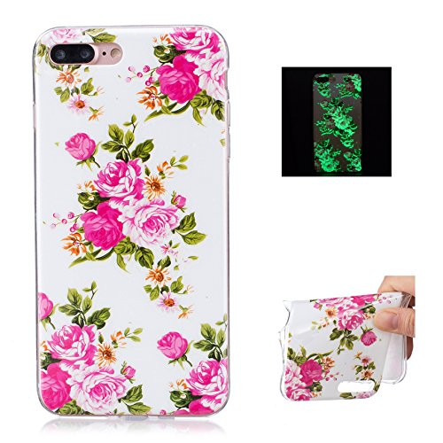 TPU Silicone Custodia per iPhone 7 Plus Cover,per iPhone 8 Plus Cover, ZCRO Custodia Silicone Morbido Flessibile Gomma Luminoso Creativo Disegno Colorate Modello Copertina Shell Case Ultra Sottile Sli Fiori Elegante