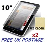 2x Universal Android Windows Tablet PC Screen Protector Cover Shield + Free Cloths 2 Pack (10' inch)