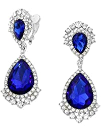 Schmuckanthony evening ball urban jewellery long clip-on crystal earrings, Montana navy blue 8 cm