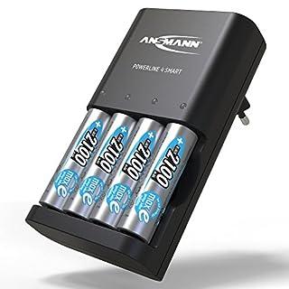 ANSMANN Batterieladegerät inkl. 4x AA 2100 mAh - Powerline 4 Smart -Universal Akku Batterie Ladegerät für Ni-MH AA & AAA Akkubatterien - Schnellladegerät für Akkus & wiederaufladbare Batterien