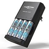 ANSMANN Batterieladegerät inkl. 4x AA 2100 mAh - Powerline 4 Smart - Universal Akku Batterie Ladegerät für Ni-MH AA & AAA Akkubatterien - Schnellladegerät für Akkus & wiederaufladbare Batterien