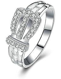 Aooaz Gioielli anello fascia anello fidanzamento anello argento sterling Corona Argento anelli donna anello zirconi