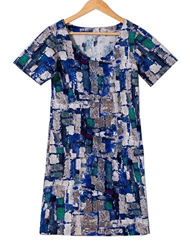 DD UP Femme Robe Fleurie Imprimée Col rond Femme Manches Casual Tunique Light Blue