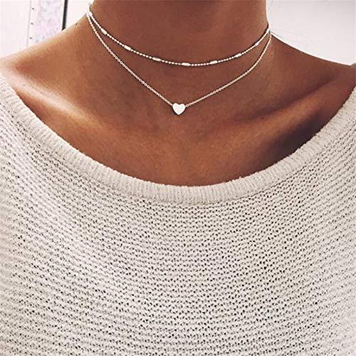 Zuxianwang moda multi strato di girocollo cuore collane per donne bohemian argento/colore oro perle collare a catena collana per donne,b