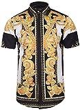 Pizoff Herren Hemdkragen mit Kurz Ärmeln Fashion Hip-Hop Tops Hemden mit Floral Blumen Luxus Palace Muster