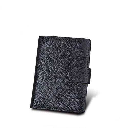 Herren Leder Brieftasche RFID Blocking Soft Kreditkarten Karte Fall Zip Pocket Geldbörse 2 Klar ID/Foto Fenster 10 Kartensteckplätze 2 Cash Bags Münztüte Schwarz -