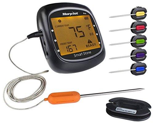 Grillthermometer Bluetooth, Morpilot 2er Pack Probe 1.2m lang Kabel für Barbeque Fleisch Thermometer Digitale Bluetooth BBQ Raucher Funk-Grillthermometer