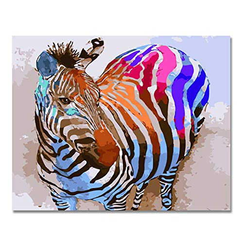 Rahmenlos, Malen nach Zahlen DIY Ölgemälde Bunte Zebra Leinwand Print Wand Kunst Home Dekoration von Rihe (Zebra-print-leinwand-wand-kunst)