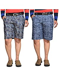 British Terminal Multi Colour Fancy Print Slim Fit Men's Cotton Shorts(Bermuda) Combo-pack Of 2 - B06XMYSFHR
