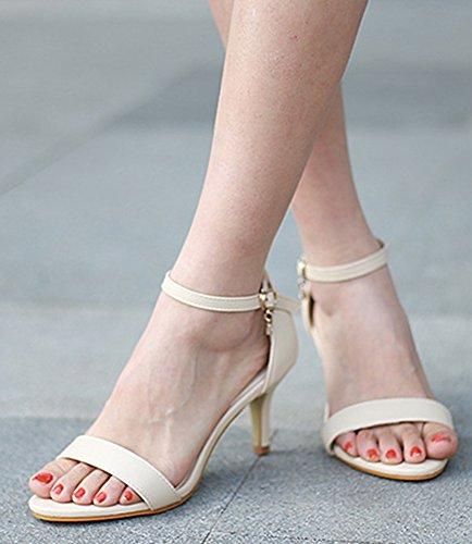 Aisun Damen Offene Zehen Mittlerer Absatz Kitten-Heel Strass Knöchelriemchen Sandalen Sandalette Aprikosenfarben