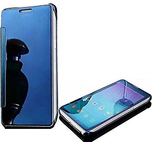 SevenPanda pour iPhone 10 5.8 Pouces Cas, iPhone X Ultra Mince 360 Degré Plein Corps Stand Couverture De Luxe Clair Vue Placage Miroir Téléphone Cas En Métal Électrodéposition Miroir PC Cas de Téléphone portable Shell - Bleu
