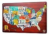 LEotiE SINCE 2004 Blechschild XXL Urlaub Reisebüro USA Nummernschilder