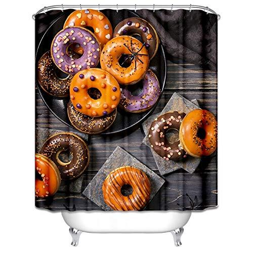 Epinki Polyester Bad Vorhang Halloween Krapfen Form Badewannenvorhang für Badezimmer Badewanne 165x200CM