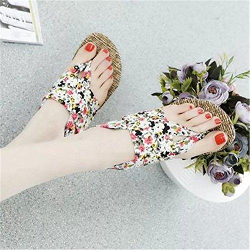 Fortunings Jds Bohemia Style Femmes Tongs Flip Flops Blanc Floral Sandales