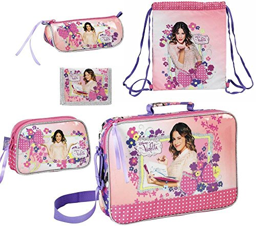 Disney violetta borsa scolastica, sacca sportiva, astuccio, mini pochette per trucco e portafoglio, rosa