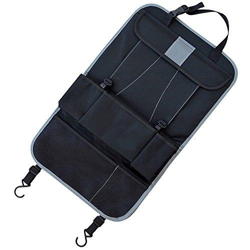 Preisvergleich Produktbild KOBWA Rückenlehnen-Schutz Schwarz von Ideal Als Auto-Organizer für Geschäftsreisende Oder Als Rücksitz-Schoner für Kinder - Mit IPad / Tablet-Fach - Universell Passend für Jedes Fahrzeug