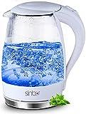 Glas Design Wasserkocher 2.200 Watt 1,7 Liter blaue LED Innenbeleuchtung kabellos integr. Kalkfilter 360° (Glas-WEIß)
