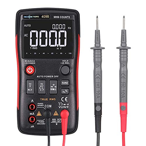 Leepesx RICHMETERS RM409B True-RMS Digital-Multimeter Taste 9999 zählt mit Analog Bar Graph Temperatursensor Test AC/DC Spannung Amperemeter Strom Ohm -
