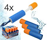 4x Wasserpistole Schaumstoff Happy People Wasserpistolen Wasserspritzpistolen Spritzpistolen klein Wassergewehr Wassergewehre für Kinder als Mitgebsel, Kindergeburtstag für Jungen und Mädchen