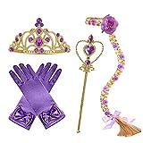 L-Peach 4pcs Accesorios de Princesa Dress Up para Niñas Diadema Guantes Varita Mágica Trenza Lila para Cumpleaños Party Carnaval Fiesta Cosplay Halloween