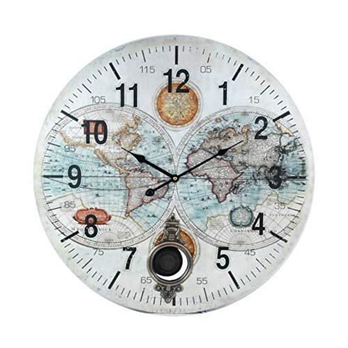 CAPRILO Reloj de Pared Decorativo de Madera con Péndulo Mapamundi.Adornos. Decoración Hogar. Regalos Originales. 58 x 58 x 4 cm.