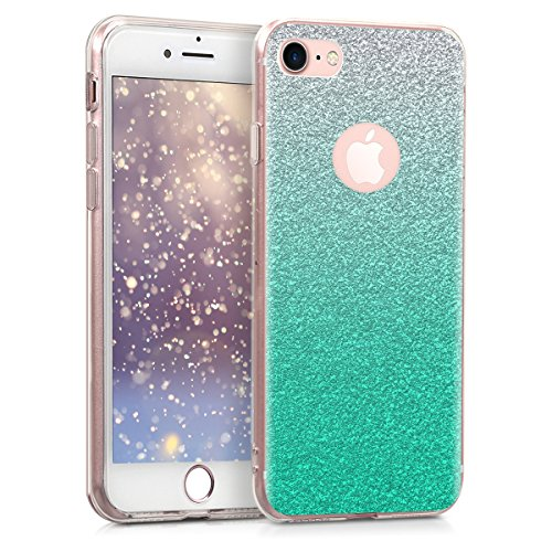 kwmobile Apple iPhone 7/8 Hülle - Handyhülle für Apple iPhone 7/8 - Handy Case in Petrol Silber Transparent