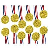 TRIXES 12 Medallas de Plástico Doradas para Ganadores – Día de Deportes/Tema Olímpico/Premios