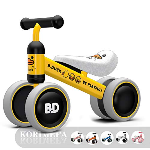 KORIMIEFA Baby Balance Bike Bicycle Baby Walker Ride On Toy for 1 Year Old Boys Girls 10-24 Months Toddlers Kids First Bike Birthday Gift (Yellow Duck)