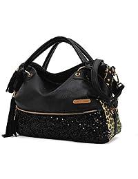 Tibes Leopard Sequins Shoulder Bag Large Capacity Handbag Sexy Women Purse Black