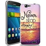 Vabneer FUNDA DE GEL SILICONA caso para Huawei Ascend G7 Protectora Caja TPU Flexible Cáscara Never stop dreaming