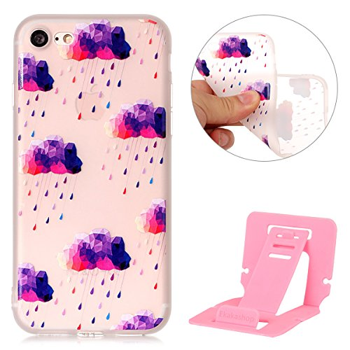 iphone 7 plus 5.5 Cover Silicone, Custodia per iphone 7 plus Morbido, iphone 7 plus Cover Trasparente, Ekakashop Varnish Clear Coating Sollievo La pittura Fashion Colorato Modello 3d Gel Silicone Gom Cloud e gocce di pioggia Viola