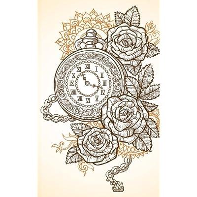 Carnet de Mots de Passe: A5 - 98 Pages - 077 - Steam Punk - Horloges - Roses
