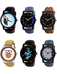 NIKOLA New Luxury Mahadev Beard Style Black Blue And Brown Color 6 Watch Combo (B22-B37-B36-B54-B23-B40) For Boys...