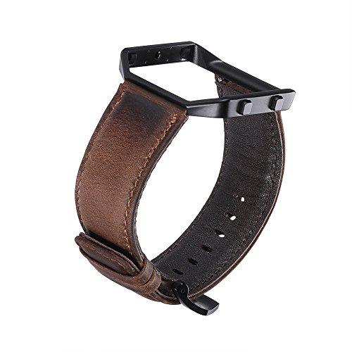 iStrap für Fitbit Blaze Armband mit Rahmen, Lederarmband für Fitbit Blaze Leder Ersatz Band Strap mit Schönen Rahmen Fall für Fitbit Blaze Smart Fitness Watch