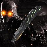 Cuchillo plegable, Cuchillo de bolsillo WILWOLF Cuchillo de una mano Multifunción Cuchillo de supervivencia al aire libre Cuchillos que acampan que acampan cuchillo táctico, Afilado con la cerradura del pulgar, Negro + Verde