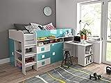 Furnistad Kinderzimmer Komplett EKO | Kinder Halbhochbett mit Schrank, Schreibtisch und Leiter (Weiß + Türkis)