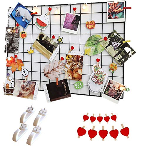 WESEEDOO Mesh Panel Grid Panel Display Foto Wand Memo Board Hängen Bild Wand Metall Mesh Wandkunst Display Organizer Schwarz -