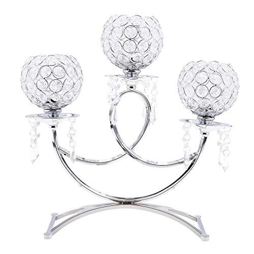 Baoblaze Candelabro Cristalino de 3 Brazos Tenedor de Vela de Votivo de Luz de Té Decoración de Casa - Plata